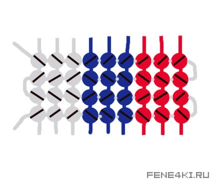 Схема фенечки Флаг России. Фенечки из мулине. Схемы фенечек. Как плести фенечки